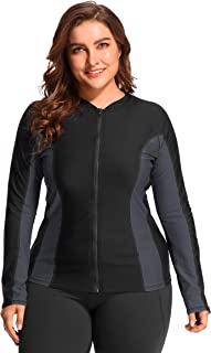 Womens Plus Size Long Sleeve Rash Guard Top Zipper Sufing Swim Shirt
