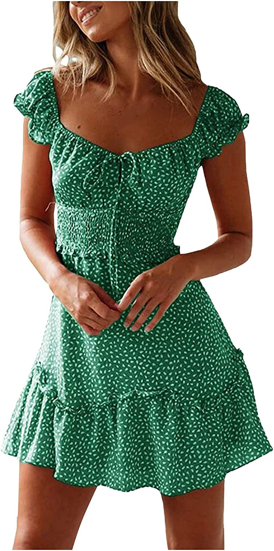 Euone_Clothes Dresses for Summer, Women's Sexy Summer Pleated Sleeve Neckline Print Dress Mini Dress Sundress