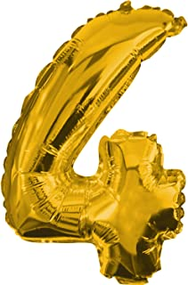 Procos Number 4 Golden Foil Balloon (2.7ft / 85cms)