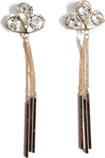 Glitz Diva WaterDrop Acrylic Pink Crystal Rhinestone Metal Flower Stud Earrings Women Jewelry
