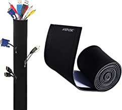 "AGPTEK 118"" Cable Management Sleeve, DIY Adjustable Neoprene Cord Hider for TV Computer, Reversible Black and White"