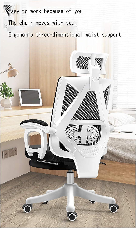 Chaise de bureau pivotante en maille ergonomique inclinable Blanc 2 Noir 4
