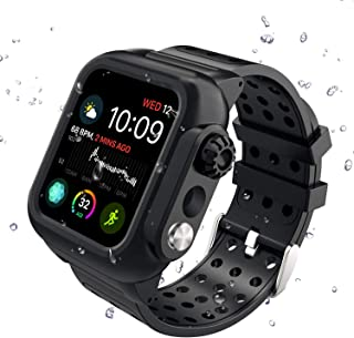 Apple Watch Series 4 44mm Band, Hertekdo Apple Watch 4 Case 44mm with Premium Soft Silicone Scratch Resistant Apple Watch Band Full Body Protections Cover Shockproof Dustproof Case