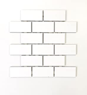 2x4 White Subway Glossy Ceramic Tile Kitchen Backsplash Bathroom (1 Sheet)