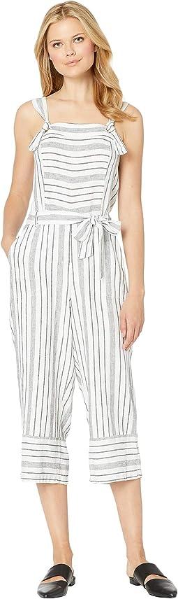 Variegated Twill Stripe Belted Jumpsuit