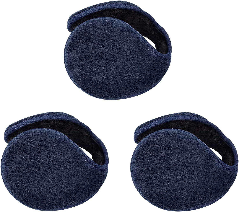 Katesid 3 Pack Unisex Winter Ear Warmers Fleece Winter EarMuffs Furry Outdoor Earmuffs
