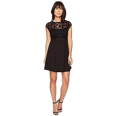 kensie Lace Netting Dress KS4K7904 (Black) Women
