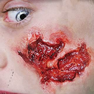 Tinsley Transfers SMALL GOUGE / Wound - Film Quality Realistic 3D Prosthetic Makeup FX Transfer. Apply With Water.