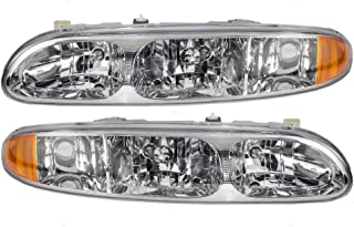 Driver and Passenger Headlights Headlamps Replacement for Oldsmobile 22689652 22689651 AutoAndArt