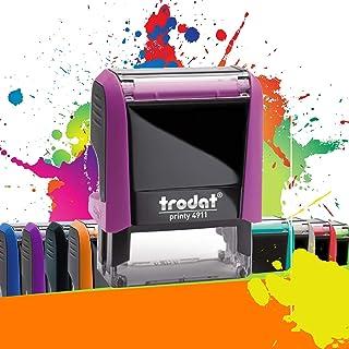 Trodat Printy 4911 - Tampon Encreur Professionnel 3 lignes À Personnaliser - Empreinte 38 x 14 mm Offerte - 10 Couleurs Di...