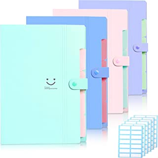 Skydue 4 Packs Expanding File Folder with 168 Labels,5 Pockets A4 Letter Size Accordion Folder Paper Organizer for School and Office