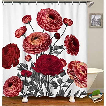 Floral Shower Curtian Set Red Bright Flowers On Wall Bath Curtain With Hooks