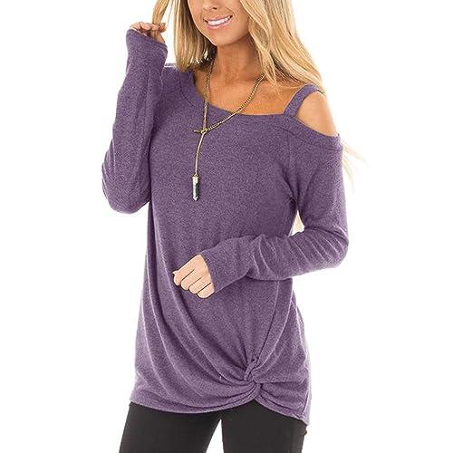 fb30be39237ee YOINS Women Off Shoulder Long Sleeves T-Shirts Cold Shoulder Plain Crossed  Front Design Loose