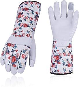 Vgo... Premium Genuine Goat Leather Extra-Long Cuff Thornproof Gardening Gloves (1Pair,Size M,White,GA9658)