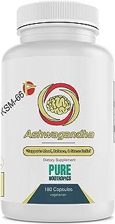 Pure Nootropics - Ashwagandha (KSM-66®) 300 mg Veggie Capsules   180 Bulk Value Pack   Stress & Anxiety Relief Herbal Supp...