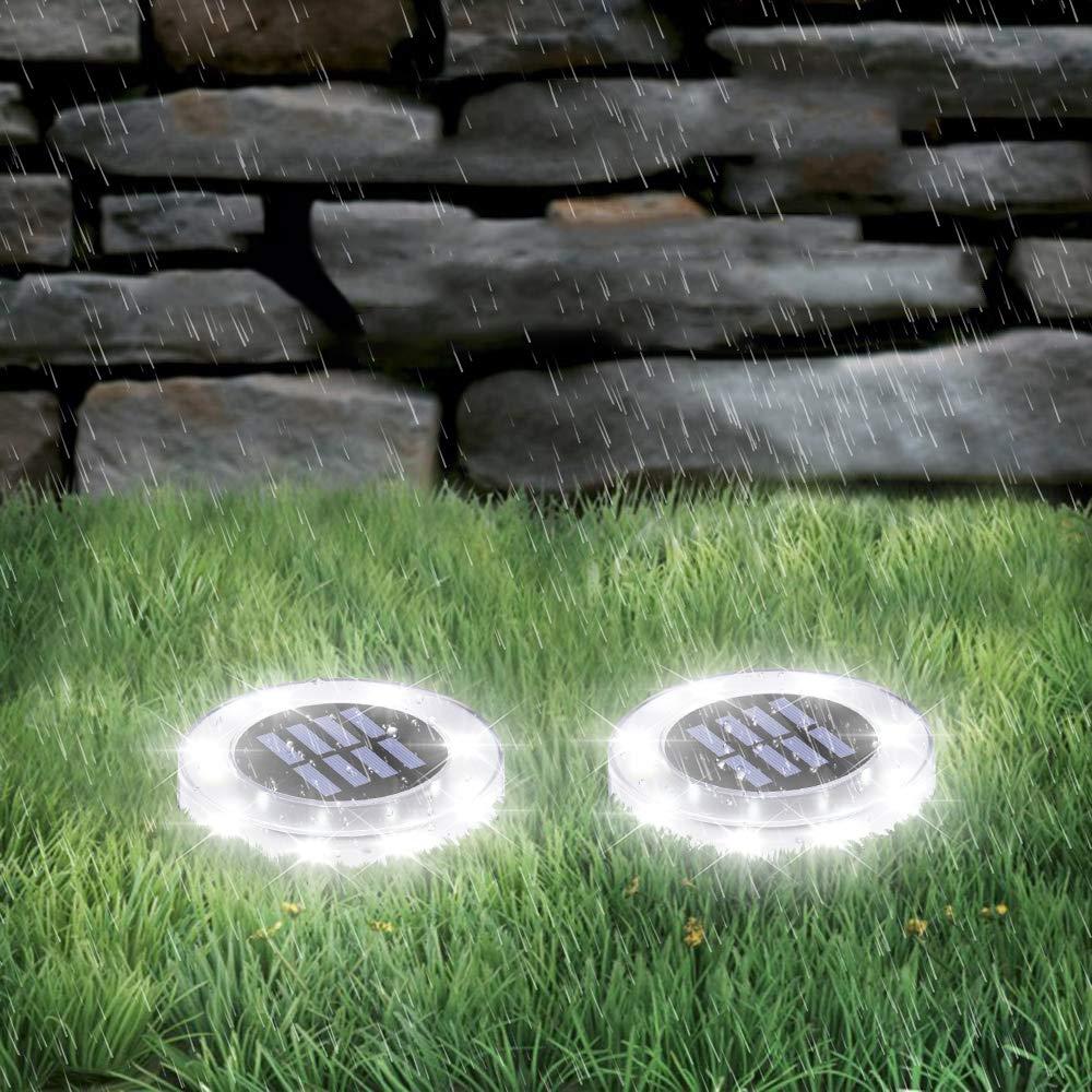 800LM 8 LEDS Bodeneinbauleuchte Au/ßenleuchte IP65 Wasserdicht Solarleuchte Bodenstrahler f/ür Rasen Weg Hof Fahrstra/ßen Innenhof Gehweg Pool-Bereich WZTO Solarleuchten Garten