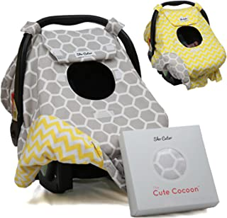 Sho Cute - [Reversible] Carseat Canopy   All Season Baby Car Seat Cover Boy or Girl   100% Cotton   Unisex Grey Honeycomb & Yellow Chevron   Nursing Cover   Universal Fit   Baby Gift -Patent Pending