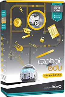 Ozobot Evo Educator Entry Kit - BLE Coding Robot & Teacher Training in 2 Ways to Code - STEM & STEAM for Grades K–12 (White)