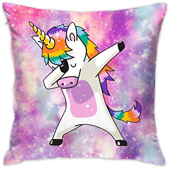 SARA NELL Velvet Throw Unicorn Pillow Case,Dabbing Dab Dance Funny Unicorn Rainbow,Pillow Cover Decorative 18X18 in Pillowcase Pillow Protector Cushion Covers with Zipper