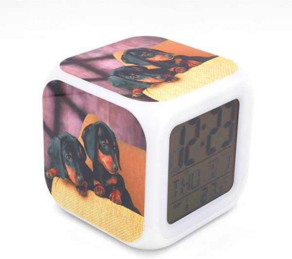 EGS New Dachshund Dog Puppy Animal Digital Alarm Clock Desk Table Led Alarm Clock Creative Personalized Multifunctional Battery Alarm Clock Special Toy Gift For Unisex Kids Adults