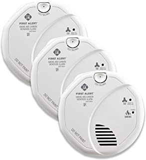 First Alert BRK SC7010BV-3 Hardwired Talking Photoelectric Smoke and Carbon Monoxide (CO) Detector, 3 Pack