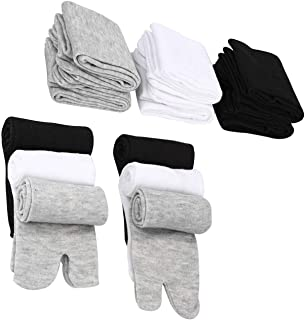 LEEQ Pack of 6 Pairs of Unisex Cotton Socks with Split Toe Unisex (Black, White and Gray)