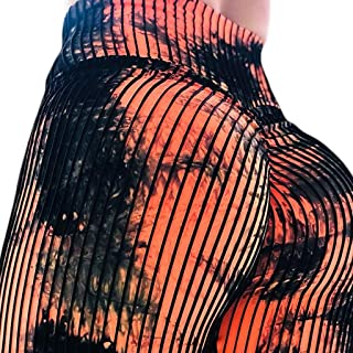 Damen Leggings mit hoher Taille, abstraktes geometrisches Linienmuster, schmale Strumpfhose, Vintage-Stil, Yoga, Sport, Fitness, Cosplay, Party-Hosen xl Orange