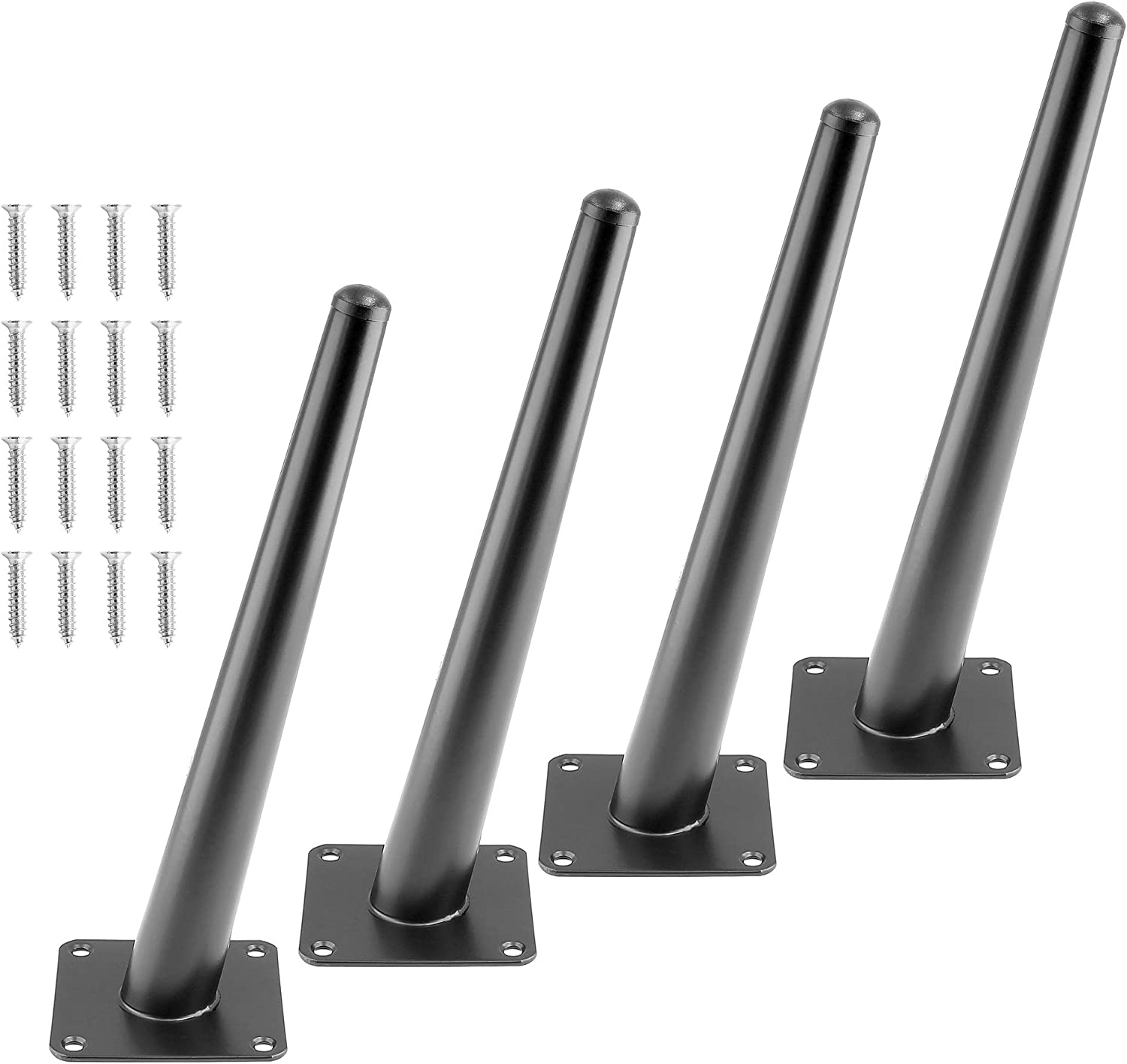 Seimneire 4pcs 10 Inch Furniture Legs, Oblique Conical Metal Legs Matte Black Mid-Century Style Furniture Feet for Sofa Cabinet Table Chair Cupboard Couch Ottoman Home DIY Projects