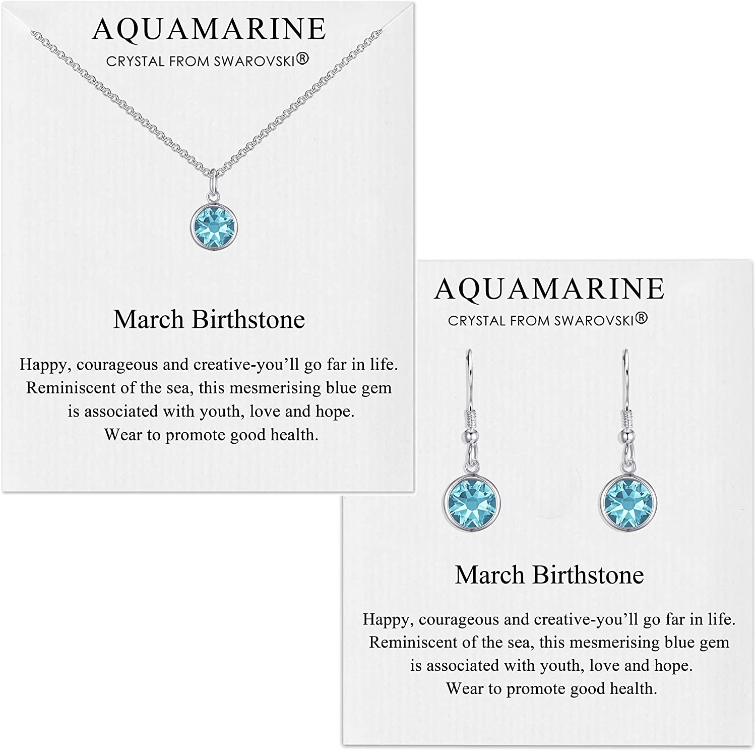 Philip Jones March (Aquamarine) Birthstone Necklace & Drop Earring Set Created with Austrian Crystals