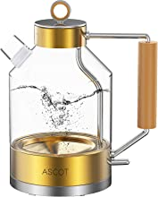 Electric Kettle, ASCOT Electric Tea Kettle 1.6L 1500W Glass Electric Kettle,Gold Stainless Steel, BPA-Free, Cordless, Automatic Shutoff, Boil-Dry Protection