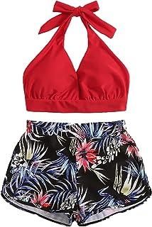 f164df8f9dda25 DIDK Damen Neckholder Oberteil Bikini Set mit Short 2 Piece Bademode mit  Pflanzen Muster