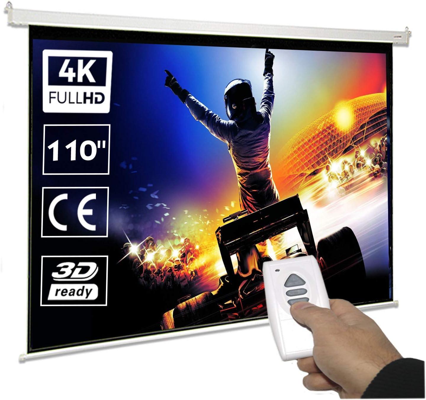 cajet/ín de 420cm Luxscreen Formato 16:9 180 Pulgadas 16:9 Pantalla de proyeccion electrica 180 Pulgadas /área Visible Blanca 398 x 225cm Incluye Mando a Distancia Compatible con 1080p y 4K