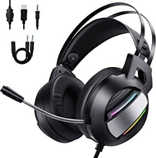 BlueFire Stereo Gaming Headset for PC, Noise Canceling Gaming Headphones with Microphone and RGB Lights, 3.5mm Wired Gamin...
