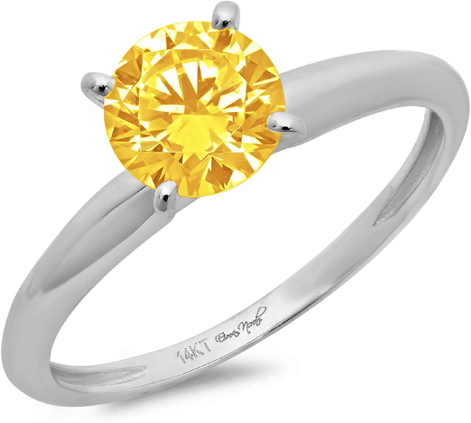 1.9ct Brilliant Round Cut Solitaire Natural Yellow Citrine Ideal VVS1 4-Prong Engagement Wedding Bridal Promise Anniversary Ring in Solid 14k White Gold for Women