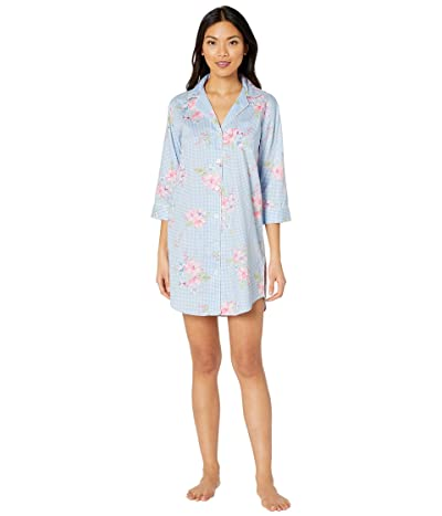 LAUREN Ralph Lauren Classic Wovens 3/4 Sleeve Pointed Notch Collar Sleepshirt (Blue Check) Women