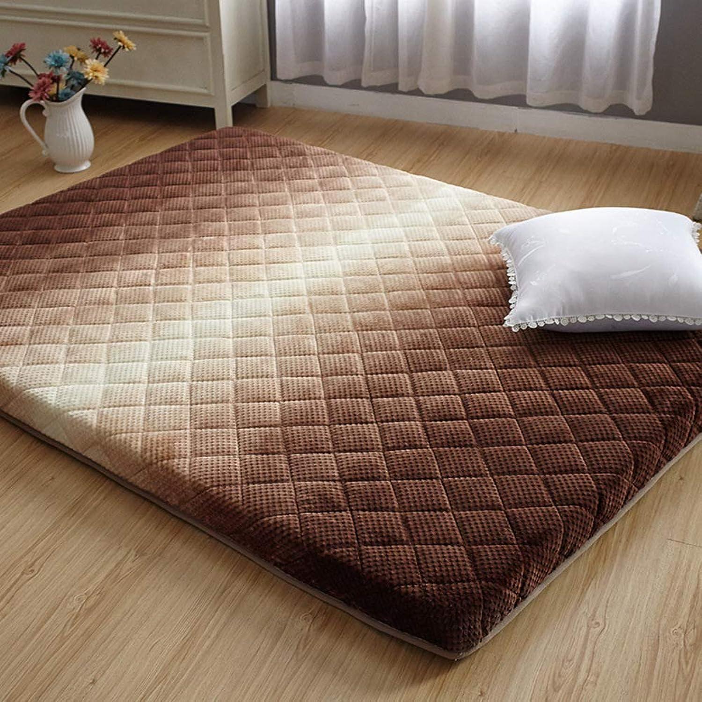 Thicken Plush Mattress,Futon Mat Topper Comfortable Folding Japanese Tatami Floor mat Mattress Floor Sleeping pad-Brown 90x200cm(35x79inch)