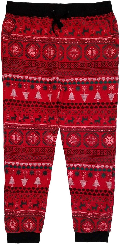 Mens Red Fair Isle Ugly Christmas Jogger Pants Sleep Pants Pajama Bottoms