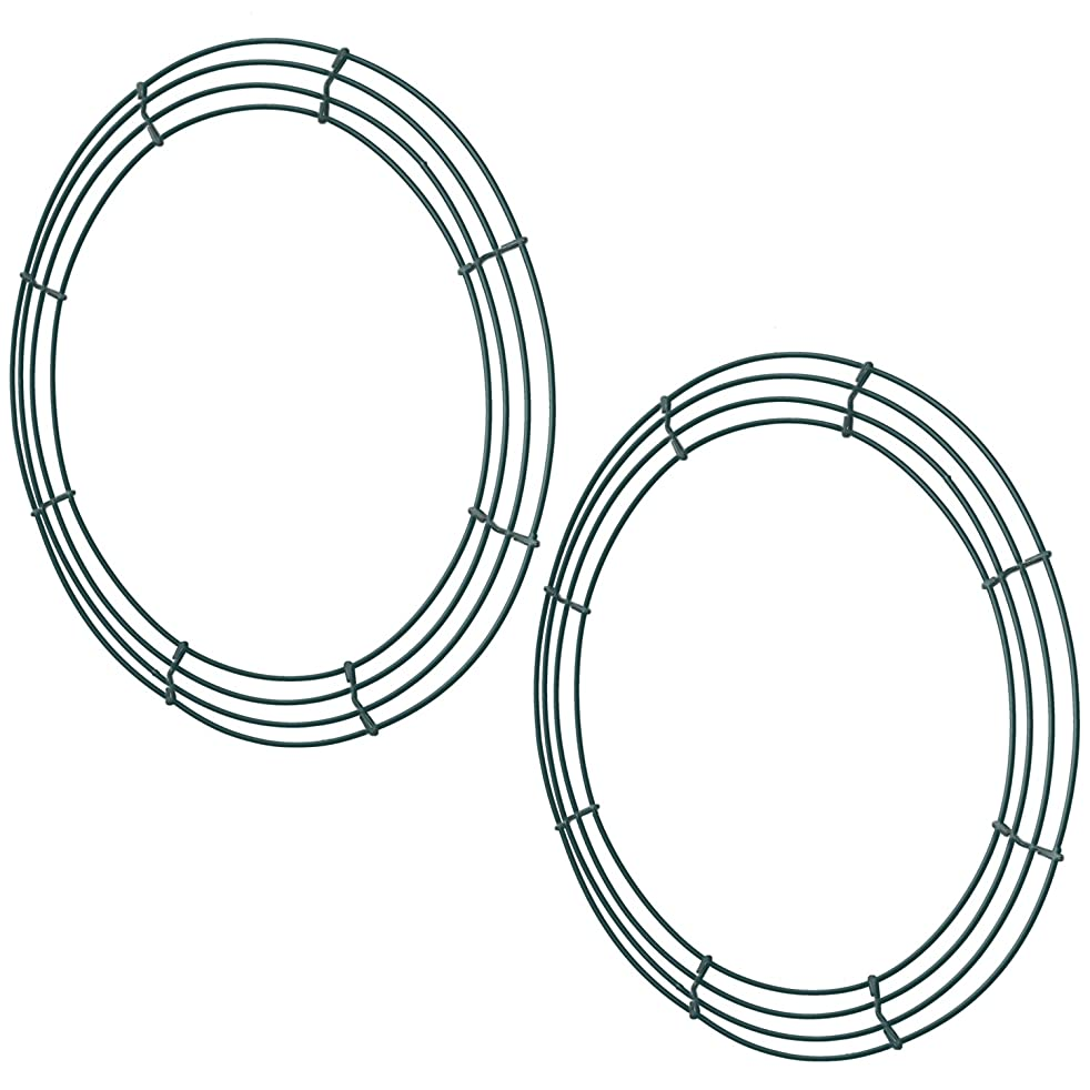 Sumind 2 Pack Wire Wreath Frame Wire Wreath Making Rings Green for New Year Valentines Decoration (16 Inch)