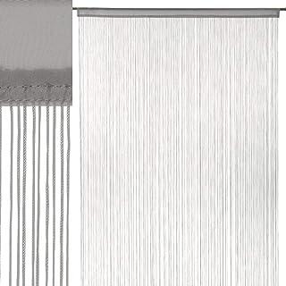 Cortina de Hilos Gris clásica de poliéster de 250x140 cm - LOLAhome