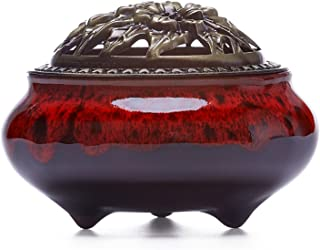 UOON Ceramic Stick Incense Burner and Cone Incense Holder Ash Catcher (Red)