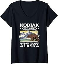 Womens Kodiak The Last Frontier Alaska Grizzly Bear Outdoor Hiking V-Neck T-Shirt