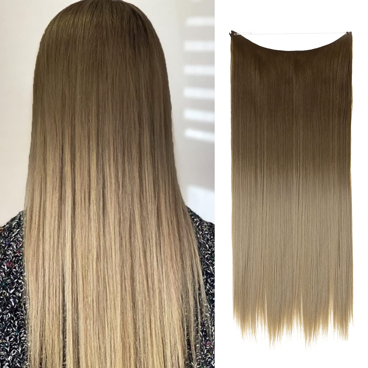 SARLA Ombre Halo Hair Extensions Brown Short to Ash Max 67% Nashville-Davidson Mall OFF Blonde Strai