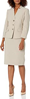 Le Suit Women's Crossdye 3 Button 3/4 Sleeve Jacket with Besom Flaps & Basic Skirt