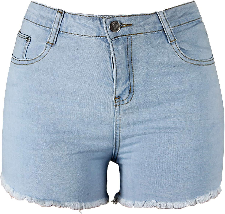 Bravetoshop Women Denim Shorts High Waisted Frayed Raw Hem Jean Shorts Summer Stretch Casual Hot Shorts