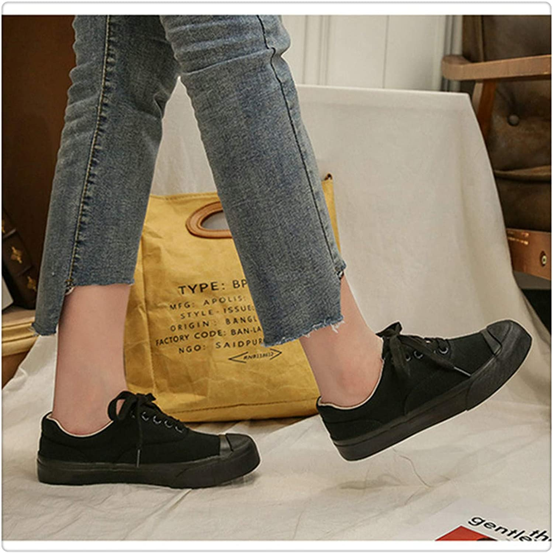 Uciquzhon Women's Vulcanize Canvas Sneakers Round Toe Student shoes Lace Up Plus Size