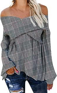 2019 New Women's Lattice Blouse, VECDUO Sexy V-Neck Off Shoulder Shirt Plaid Shirt Loose Tops