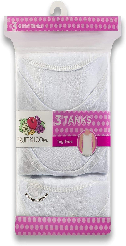 Fruit of the Loom Girls White Tanks 3 Pack