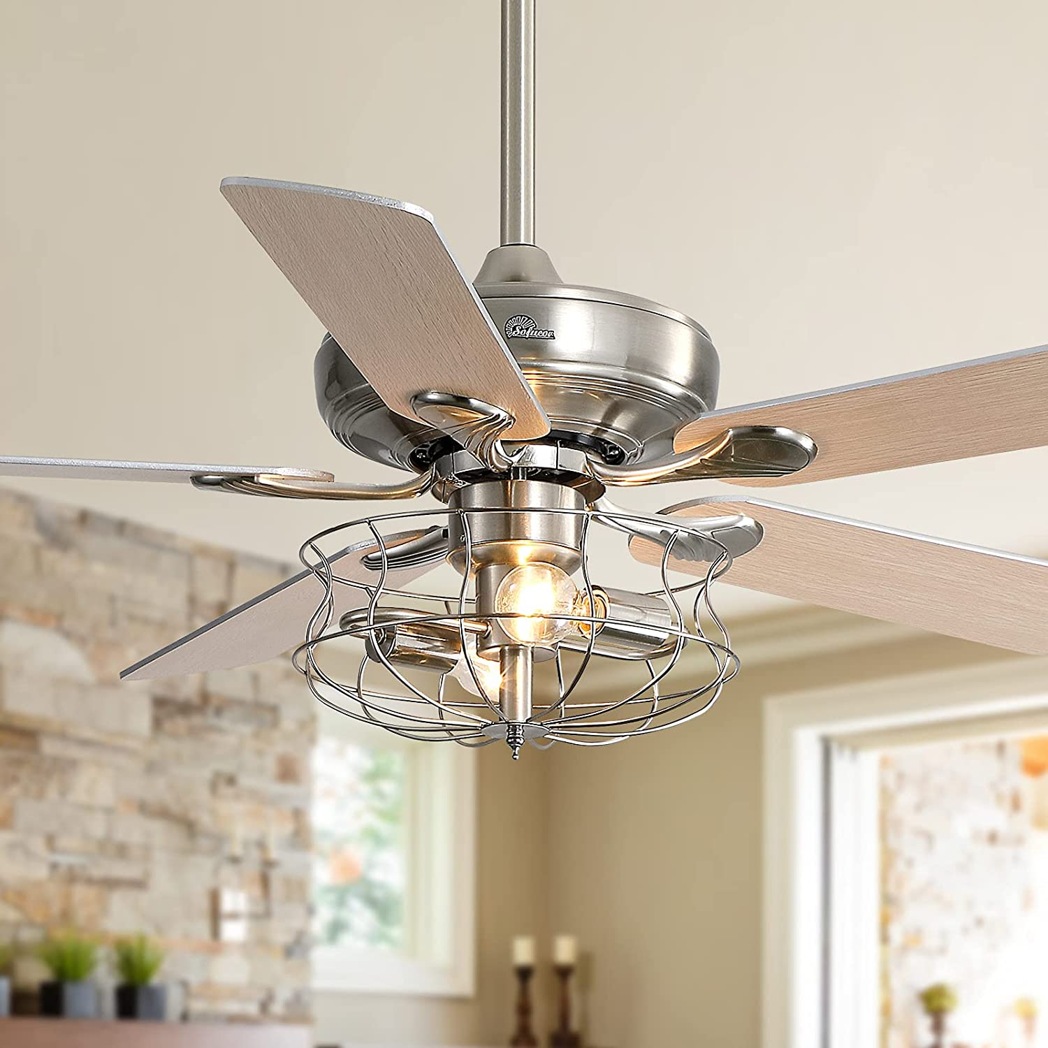 """Sofucor 52"""" Farmhouse Very popular Ceiling Fan with Powerf and Product Remote Light -"""