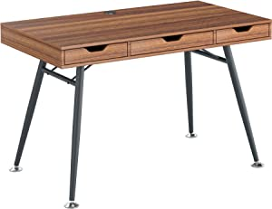 Retro Style Computer Laptop Writing Desk Table with 3 Drawers in Dark Oak Effect - Piranha Furniture Coley PC 40n