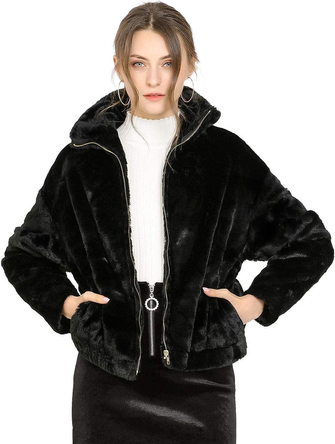 Allegra K Women's Winter Zipper Front Coat Shawl Collar Faux Fur Fluffy Jacket